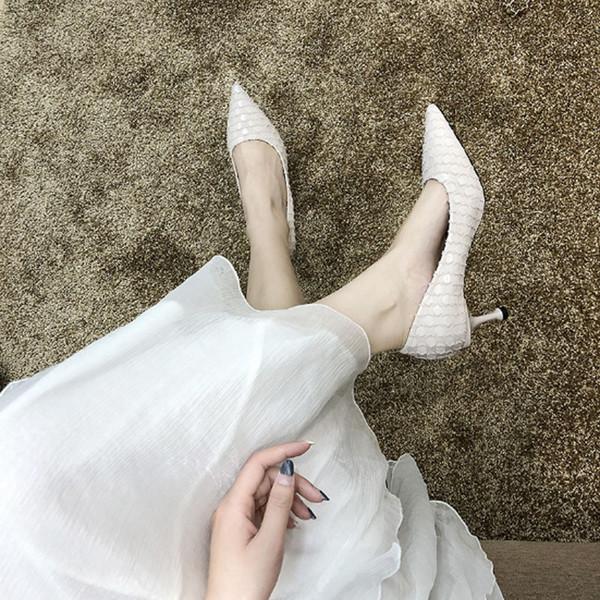 2019 новая корейская версия универсальной моды заостренный туфли на высоких каблуках женские узкие каблуки мелкие моды одиночные туфли тенденция