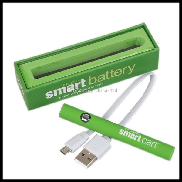Batterie verte de stylo de vape de préchauffage de batterie intelligente de chargeur avec le chargeur USB 380mAh pour les cartouches 510 Chariots futés de Vank Kingpen AC1003