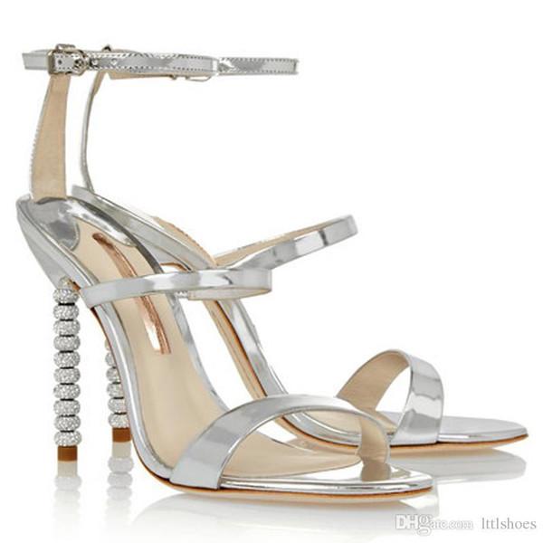 2018 Nouveau Design Dames Sexy Stilettos À Talons Hauts Femmes Chaussures Pompes De Luxe Strass Talon De Mariage Sandales De Soirée Argent Rouge Noir Champagne