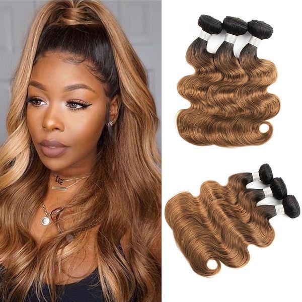 1B 30 fasci di capelli castani dorati Ombre Capelli brasiliani dell'onda del corpo Capelli 3 o 4 fasci 10-24 pollici di estensioni dei capelli umani di Remy
