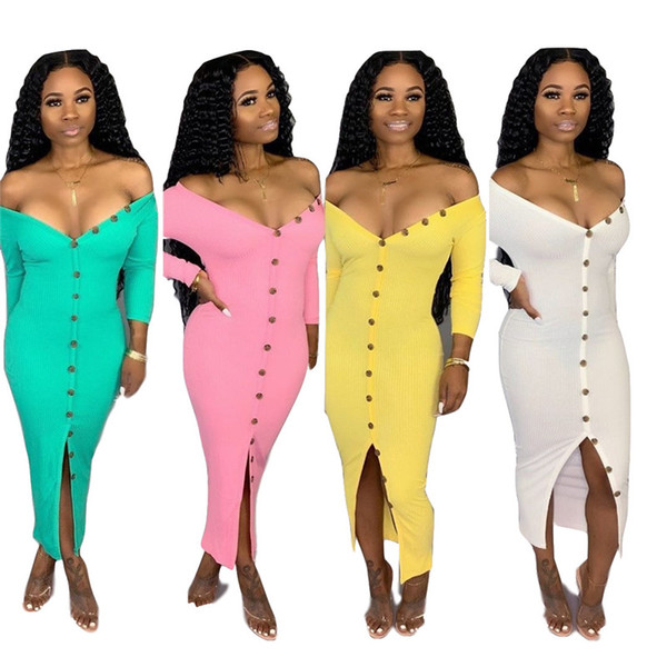 Weg von der Schulter elegantes gestricktes Kleid Frauen knöpft oben volle Hülsen-Paket-Hüfte-Kleid-Sommer-tiefes V-Ausschnitt-vorderes aufgespaltetes Maxi-Kleid N19.7-2100