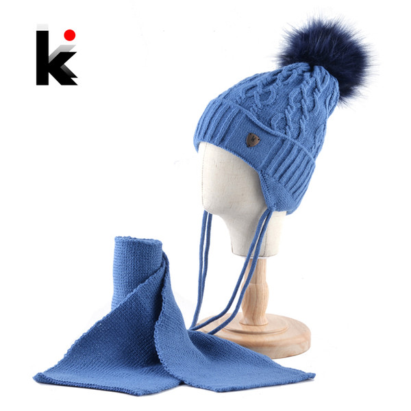 K Brand Winter Hats Scarf Set For Kids Warm Knitted Beanies With Pompom Children Twist pattern Ear Flap Cap Boys Girls Thick Hat