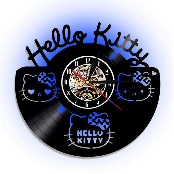 Vinilos Hello Kitty Pared.Compre Reloj De Pared Con Cd Hello Kitty Reloj De Pared Con Disco De Vinilo Acrilico Led El Mejor Regalo Para Ninos Amigo Familiar A 20 11 Del