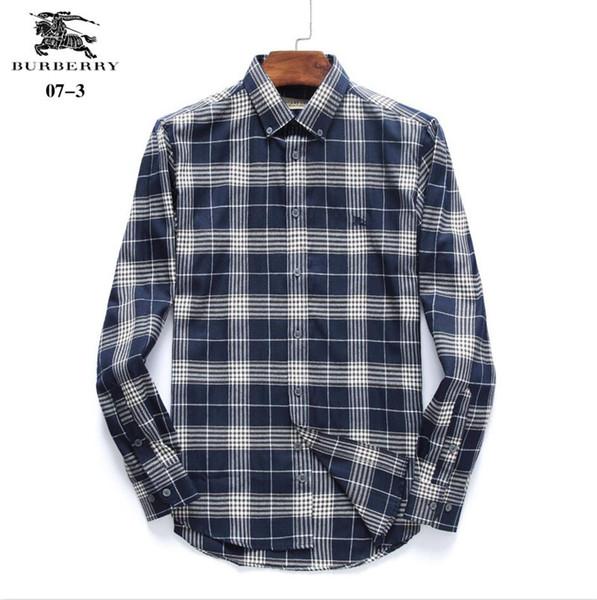 New Hot Sale BBR Pequenas Malha Homens Camisas de Vestido de Moda Longo-Sleeved Camisa Camisa de Vestido de Luxo dos homens Camisas Casuais Chemise Camisas Masculinas # 6545