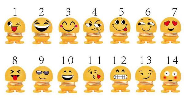 6pcs/set mini Emoji Shaking Head Toys Car Interior Decoration Creative Toys Cute Cartoon Car Ornament Smile Car Accessories