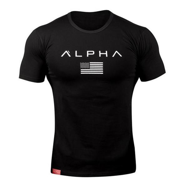 Carta dos homens Impresso Tshirts Pretos Camisa de Verão de Algodão Ginásio de Fitness Dos Homens t-shirt Quick Dry Tanque De Treinamento Top Dos Homens de Manga Curta Correndo camiseta