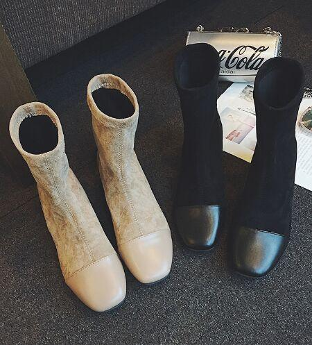 New Arrival Hot Sale Specials Super Fashion Influx Luxury Roman Stretch Socks Thin Skinny Suede Square Head Heels Ankle Boots EU35-39