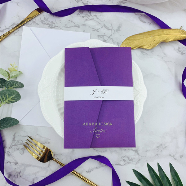 Elegant Purple Laser Cut Invites For Wedding Quince Sweet Sixteen Laser Cut Pocket Invites With Belly Band Diy Invitation Kit Embossed Wedding