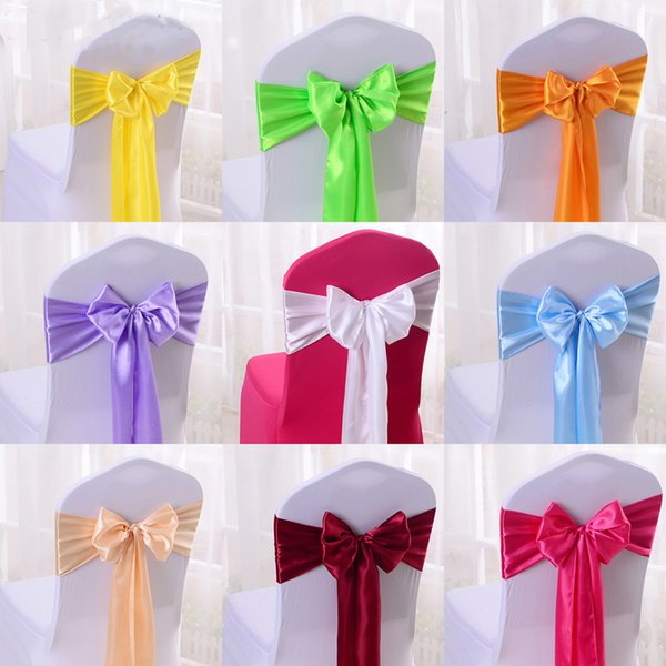 Adjustable Bow Tie Ribbon Bands Decorative Chair Sashes Accessory Banquet Seat Decor Sashes For Wedding Supply chair cover bow