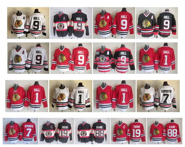 Vintage Chicago Blackhawks Jersey 1 Glenn Hall 7 Phil Esposito 9 Bobby Hull 19 Jonathan Toews 88 Patrick Kane Rojo Blanco Negro CCM Hockey