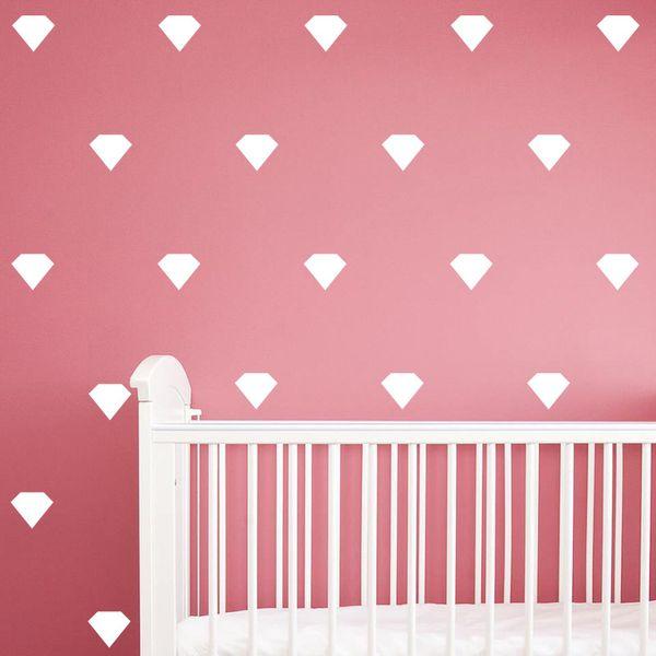 24pcs/set Cartoon Little Diamond Shape Wall Stickers For Kids Boys Girls Rooms Bedroom Poster Home Decor Art Vinyl Wall Decals