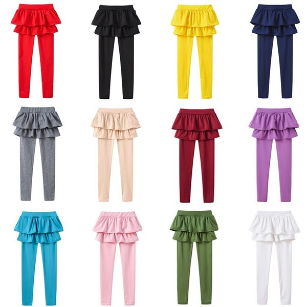 Autumn Spring Baby leggings Girls Fake two pieces Skirt Pants Boutique kids Clothing Children Candy colors Trousers Tights