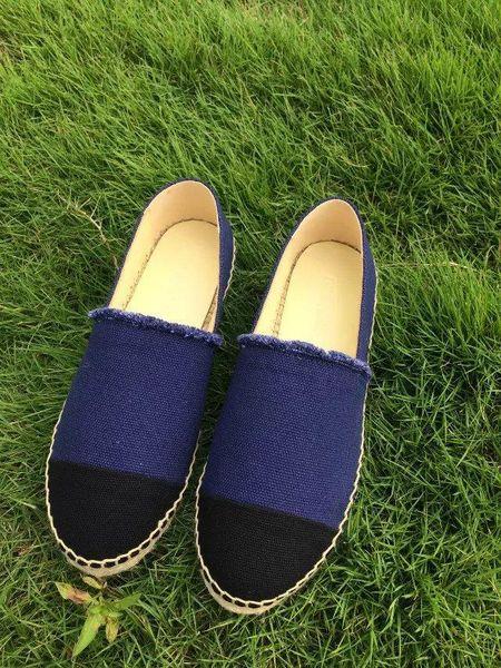 New Classic Women Summer Sandal Espadrille Fisherman Shoes Low Heel Leather Leisure Designer Canvas sneaker plimsolls Sizes 35-42