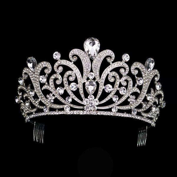 Vintage Silver Crystal tiara Wedding Big Crown For Bride Hair Accessories 2017 New Alloy Rhinestones Queen Crown Hair Jewelry C18122501