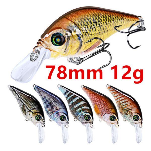 Mixed 10 Color 78mm 12g Crank Fishing Hooks Fishhooks 6# Hook Hard Baits & Lures b-013