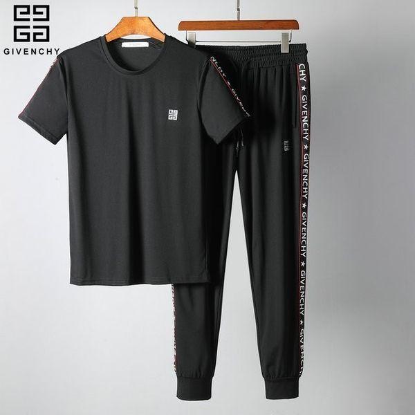 2019 Yeni Desen Adam Eşofman Kısa Kollu Hareket Pantolon Kore Baskı Nakış Eğlence Spor Takım Elbise 309 # LLKLKL96630