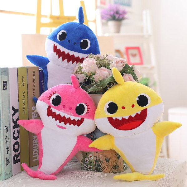 3 Color 30cm(11.8inch) Baby shark With Music Cute Animal Plush 2019 New Baby Shark Dolls Singing English Song For Children