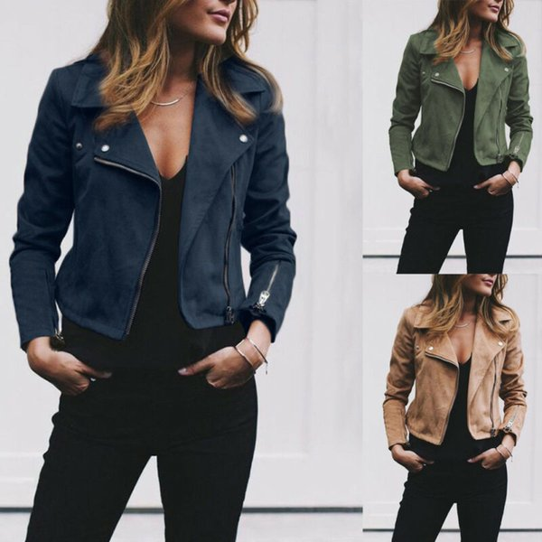 Signore delle donne della pelle scamosciata del rivestimento di cuoio del cappotto del cappotto Volo Zip Up Biker giacche e cappotti Top Donna Autunno Inverno Abbigliamento Streetwear