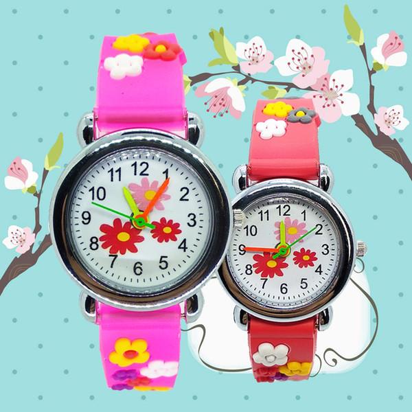 Moda niñas niños patrón de flores lindo niños relojes relojes de pulsera de cuarzo casual simple niños reloj infantil mejor regalo de navidad