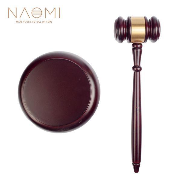 top popular NAOMI Wooden Judge Hammer Handmade Craft Judge Auction Hammer Wood Gavel Sound Block Court Decoration Set 2021