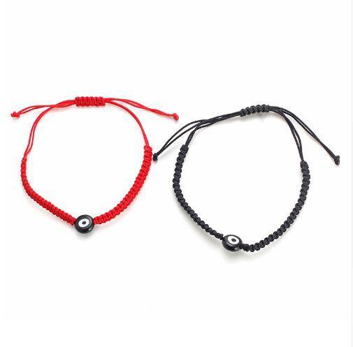 Free ship 20pcs Lucky Red String Thread Rope Bracelet Black Turkish Evil Eye Charm Little Girls Kids Children Braided