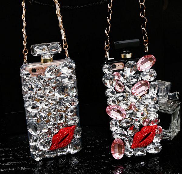 Luxury Bling bottiglia di profumo bacio labbra rosse con strass Diamond Case per iphone XS Max 6 7 8 plus Samsung S9 S8 S6 bordo S7 Plus Nota 9 5