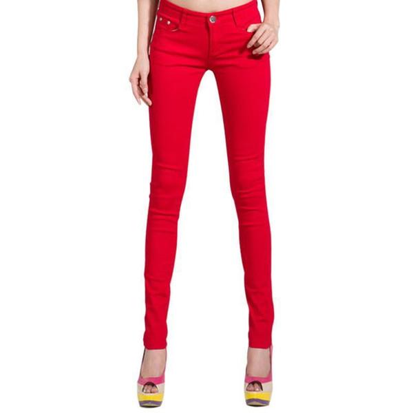 Wholesale- Pop Autumn Fashion Pencil Jeans Woman Candy Colored Mid Waist Full Length Zipper Slim Fit Skinny Women Pants
