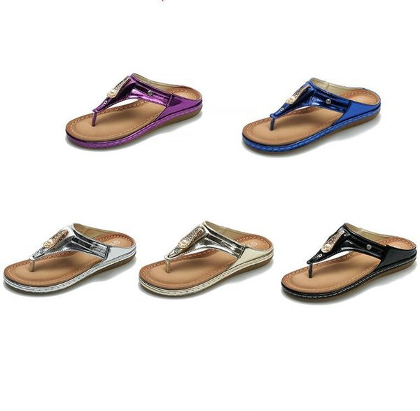 top popular Women Beach Slippers rhinestone smooth sandals fashion women's toe casual beach slipper Outdoor Leisure beach Slippers 5colors GGA1656 2019