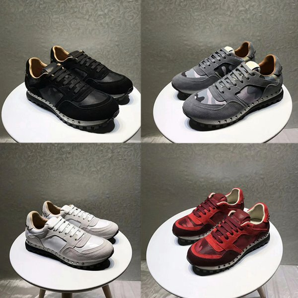 High quality Famous Brand Rivets Camouflage Casual Shoes For Men and Women Unisex Genuine Leather Sneakers Lovers Designer Shoes Size 35-46