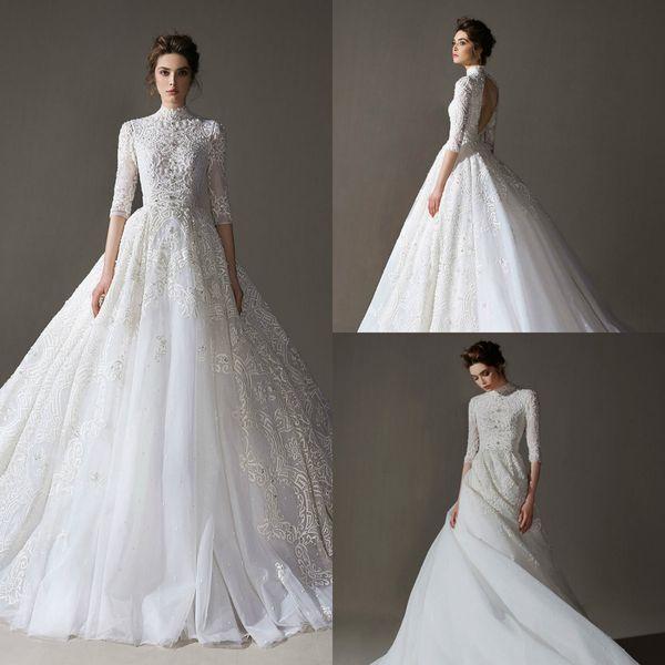 2020 Bohemian Gelin Elbiseler Yüksek Boyun Aplike Boncuklu Yarım Kollu Gelinlik Açık Geri fırfır Sweep Tren Custom Made Elbiseler De mariée