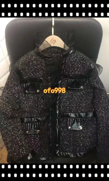 Женщины grils с длинным рукавом черный твидовый кардиган куртка костюм Леди верхняя одежда бомбардировщик зимнее пальто хлопок мягкий куртка зима теплая пальто с кружевом