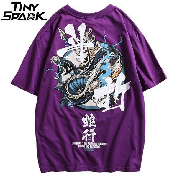 Hip Hop T Shirt Men Snake Chinese Charaters T-shirts Harajuku Streetwear 2019 Spring Summer Tshirt Short Sleeve Tops Tees Cotton Y19050701