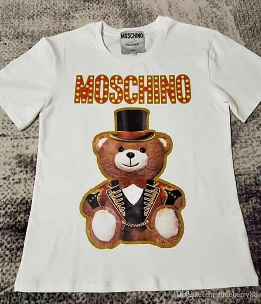 2019ss camiseta de las mujeres primavera verano oso de peluche de impresión camisetas Casual Loose Crew Neck Letra T-shirt Streetwear