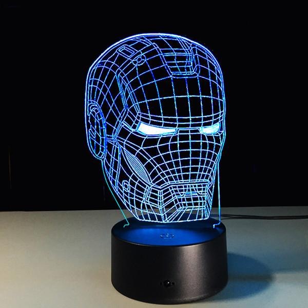 Ironman Head 3D Led Night Light Iron Man Mark Colorful USB LED Table Lamp Acrylic Lighting Decoration Superhero Toy