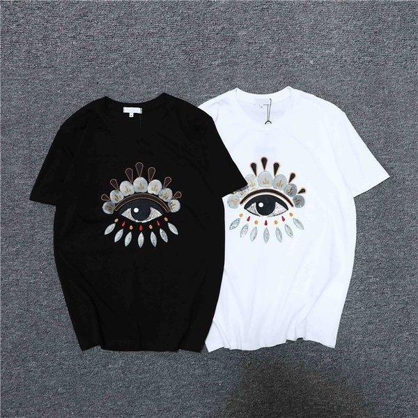 дизайнер мужчины женщины футболка бренда черно-белый с коротким рукавом роскошный шею бренд футболка лето повседневная мода женщины мужчины футболка