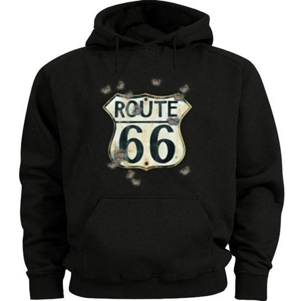 Tamanho Rt 66 Sign Buracos camisola com capuz bala de Route 66 Hoodie Homens Hoodie
