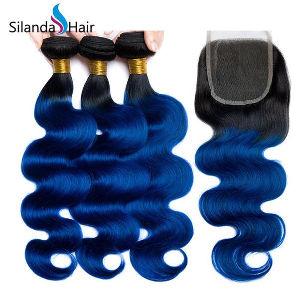 Silanda Hair Ombre Farbe gefärbt #T 1B / Blaue Körperwelle Brasilianisches Remy Menschenhaar-Spinnen Bundles mit 4X4 Lace Closure Kostenloser Versand