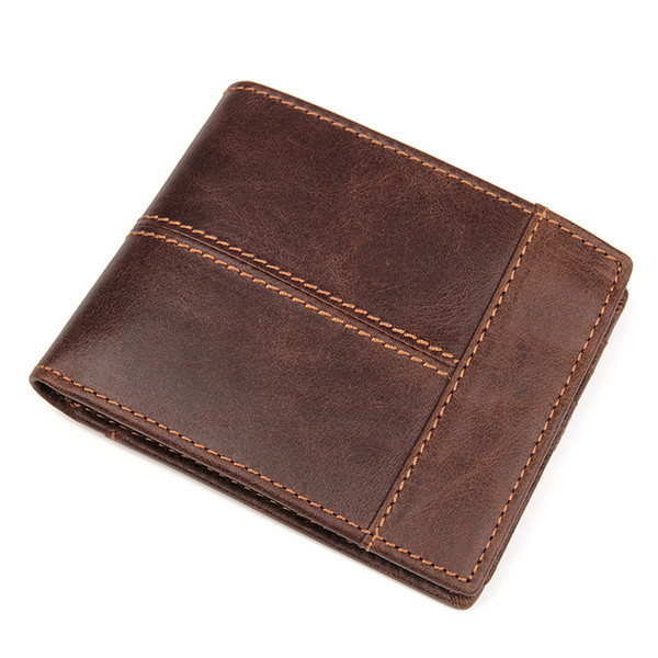 Brand Mens Wallets Genuine Leather Man Short Wallet Coin Purses Bag Men Wallet for Credit Cards European and American Style Wallets for Men