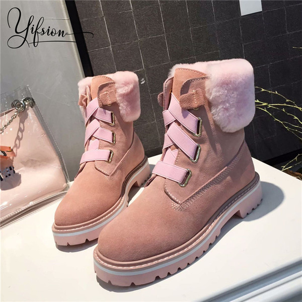 YIFSION neue Art und Weise Schwarz-Rosa-Frauen warme Knöchel-Stiefel-runde Zehe schnüren sich oben Thick niedrige Ferse Frauen Wolle Winter Stiefel Schuhe Frau