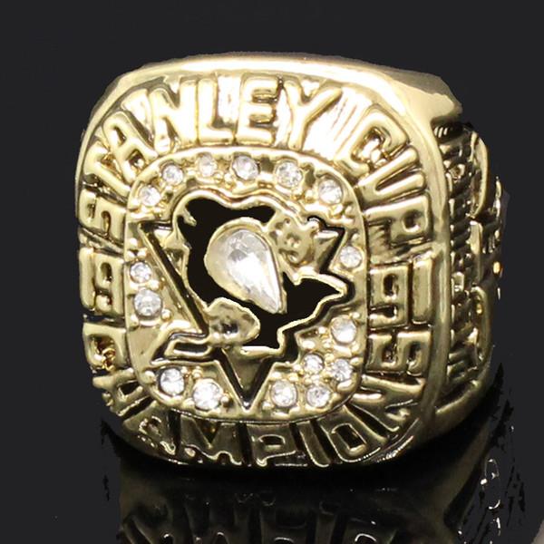 Pinguini di Pittsburgh Lemieux 1991 Stanley Cup Campionato di hockey Anello da uomo Anello da sposa Anello Fan Uomo Regalo Spedizione all'ingrosso