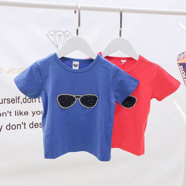 Kore Yaz Çocuklar Giysi Tasarımcısı Erkek t gömlek Karikatür pullu güneş gözlüğü çocuklar Tee Gömlek erkek giysi tasarımcısı erkek giyim A6332