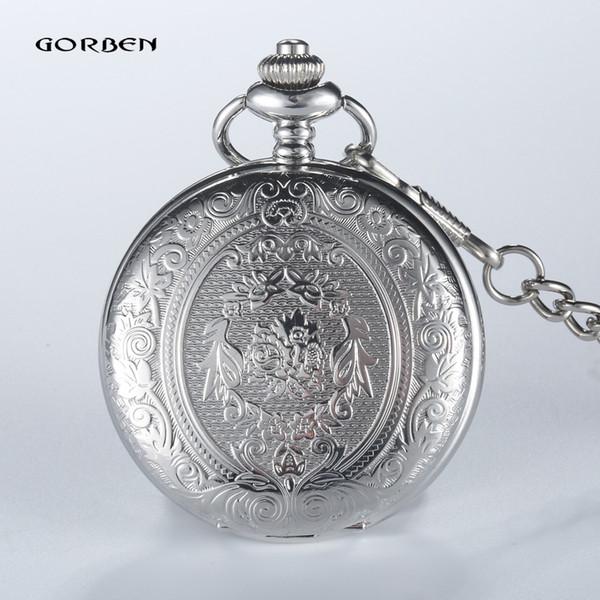 Vintage 2 Sides Carving Roman numerals Silver Plated Pocket Watch Mens GORBEN Analog Quartz Fob Waist Chain Women Luxury Watch