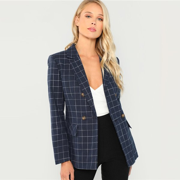 Navy Cotton Office Lady Elegant Notched Neck Plaid Double Breasted Blazer Women Pocket Autumn Minimalist Coat Outerwear
