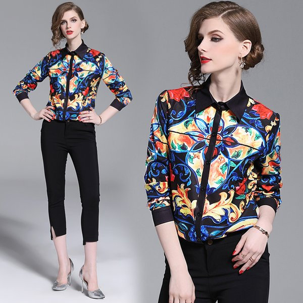 Top New Women's Fashion Spring Fall Paisley Print Shirt Blouses Luxury Office Lady Sexy Slim Elegant Button Front Print Collar Shirts Blouse