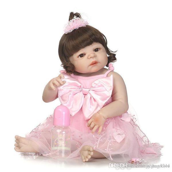 htt Atacado 56 centímetros completa corpo de silicone Bebe renascido Baby Girl Dolls Brinquedos para meninas Crianças Brinquedos recém-nascido Lifelike Bathe boneca