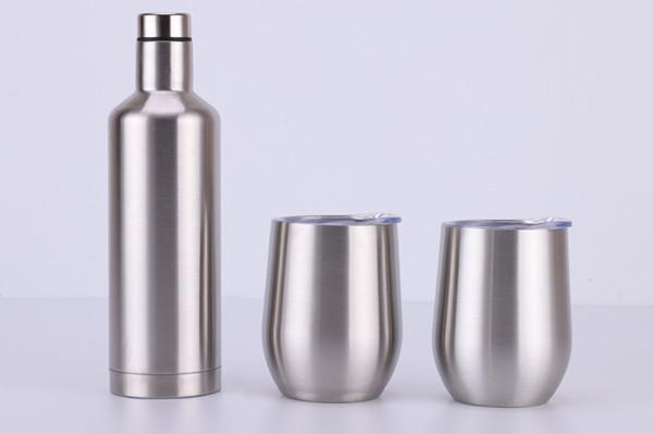 Bottiglie di vino rosso dell'acciaio inossidabile 3pcs / lot pacchetto creativo del regalo di vetro di vino insieme vetri isolati all'aperto 500ml 12oz doppio strato