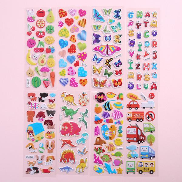 3D пухлые пузырь наклейки животных Мультфильм Принцесса кошка письмо автомобиль Waterpoof DIY детские игрушки для детей дети мальчик девочка