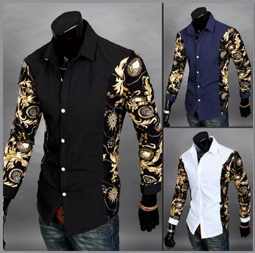 2015 New Arrival Summer Style Men Shirt Fashion Patchwork Striped Long Sleeve Slim Fit Shirt For Men Brand Mens