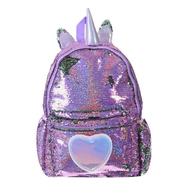 Sequins Heart-Shaped Decor Women Backpack Glitter Shoulder Teenage School Backpack mochila feminina