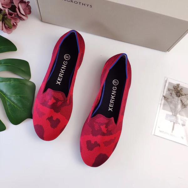 Женская мода Круглый носок Трикотажные повседневные туфли с мелким ртом Весенние повседневные балетки Красный камуфляж Осенние лоферы Больше моделей Размер 35 ~ 40
